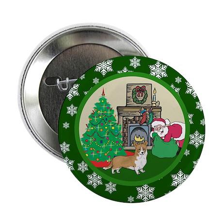 """Santa & A Welsh Corgi 2.25"""" Button"""
