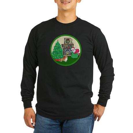 Santa & A Welsh Corgi Long Sleeve Dark T-Shirt