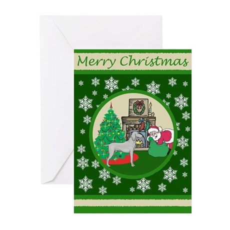 Santa & A Weimaraner Greeting Cards (Pk of 20)