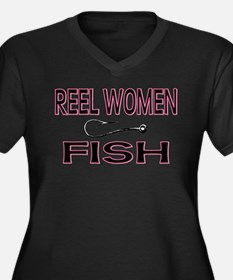 Reel Women Fish Women's Plus Size V-Neck Dark T-Sh