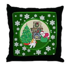 Santa & A St Bernard Throw Pillow