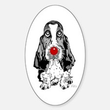 Red Nose Basset Oval Decal