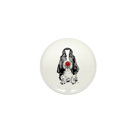Red Nose Basset Mini Button (10 pack)