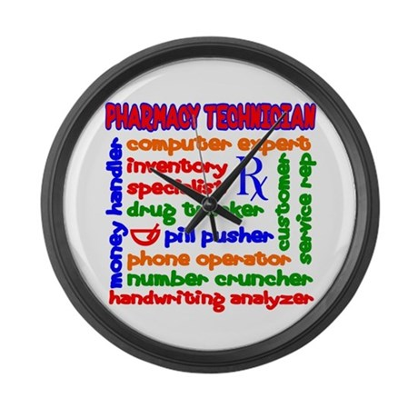 Pharmacy Technician Large Wall Clock