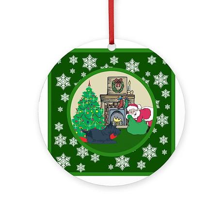 Santa & A Scottie Ornament (Round)