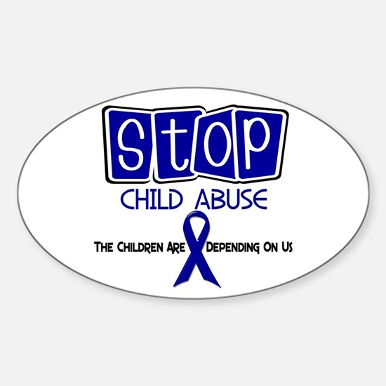 Stop Child Abuse 1 Oval Decal