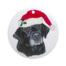 Blk Labrador Santa Hat Ornament (Round)