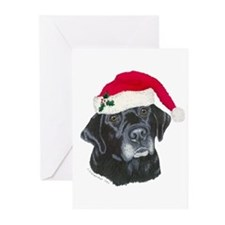 Blk Labrador Santa Hat Greeting Cards (Pk of 20)