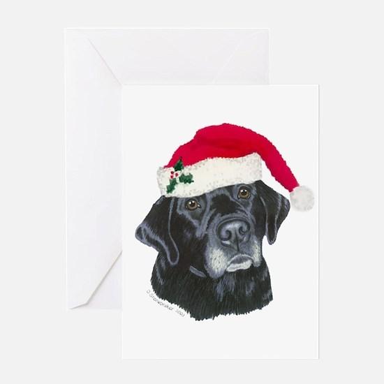 Blk Labrador Santa Hat Greeting Card