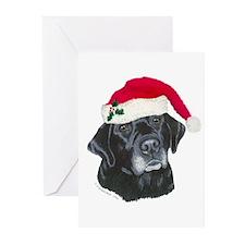 Blk Labrador Santa Hat Greeting Cards (Pk of 10)
