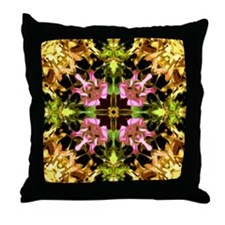 Yellow Kaleidoscope Wheel Throw Pillow