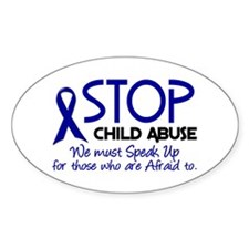 Stop Child Abuse 2 Oval Decal