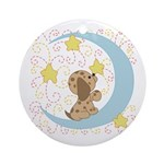 Dog Moon and Stars Ornament (Round)