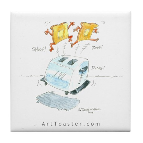 """Hot to go"" jumping toast car Tile Coast"