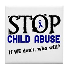 Stop Child Abuse 3 Tile Coaster