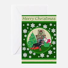 Santa & A Rottweiler Greeting Card