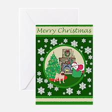 Santa & A Pug Greeting Card