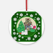 Santa & A Maltese Ornament (Round)