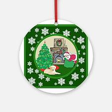 Santa & A Yellow Lab Ornament (Round)