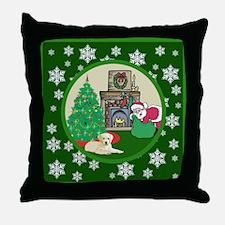 Santa & A Yellow Lab Throw Pillow