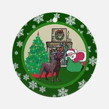 Santa & A Chocolate Lab Ornament (Round)