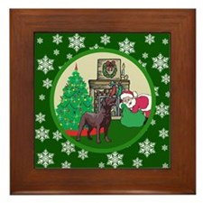 Santa & A Chocolate Lab Framed Tile