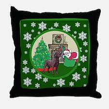 Santa & A Chocolate Lab Throw Pillow