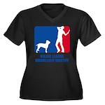 Ambullneo Mastiff Women's Plus Size V-Neck Dark T-