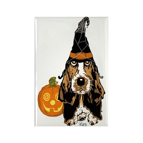 Halloween Basset Hound Rectangle Magnet (10 pack)