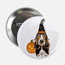 """Halloween Basset Hound 2.25"""" Button (100 pack"""