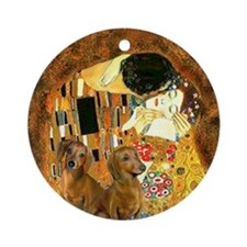 The Kiss/Two Dachshunds Ornament (Round)