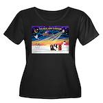 XmasSunrise/3 Cavaliers Women's Plus Size Scoop Ne