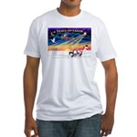 XmasSunrise/4 Chinese Cresteds Fitted T-Shirt
