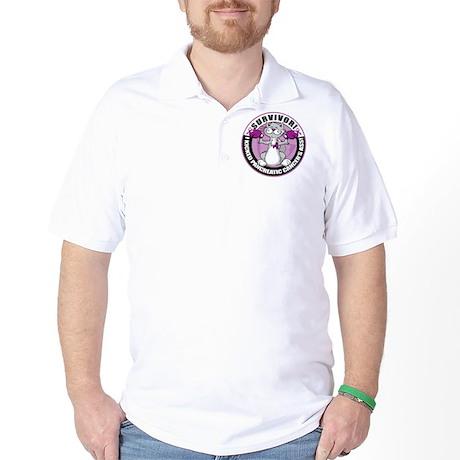 Pancreatic Cancer Survivor Cat Golf Shirt