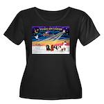 XmasSunrise/5 Cavaliers Women's Plus Size Scoop Ne