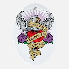 Pancreatic Cancer Dagger Tattoo Oval Ornament