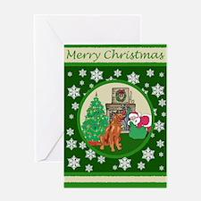 Santa & An Irish Setter Greeting Card