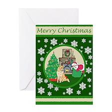 Santa & A Husky Greeting Card