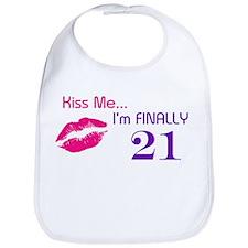 Kiss Me I'm 21 Bib