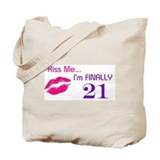 Kiss Me I'm 21 Tote Bag