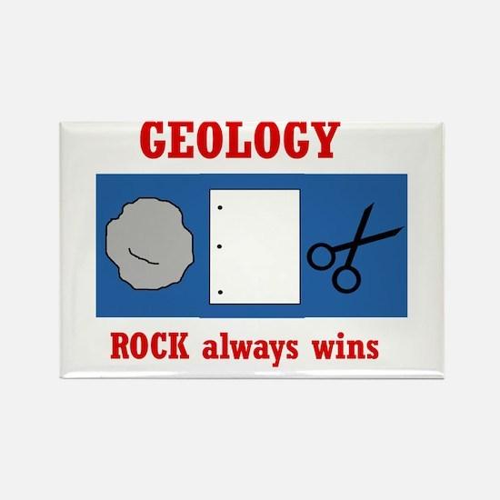 Rock Always Wins Rectangle Magnet