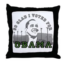 So Glad I Voted for Obama Throw Pillow