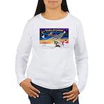 XmasSunrise/4 Ital Greyhnds Women's Long Sleeve T-