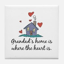 Grandad's Home is Where the Heart Is Tile Coaster