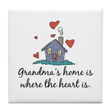 Grandma's Home is Where the Heart Is Tile Coaster