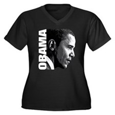OBAMA! Women's Plus Size V-Neck Dark T-Shirt