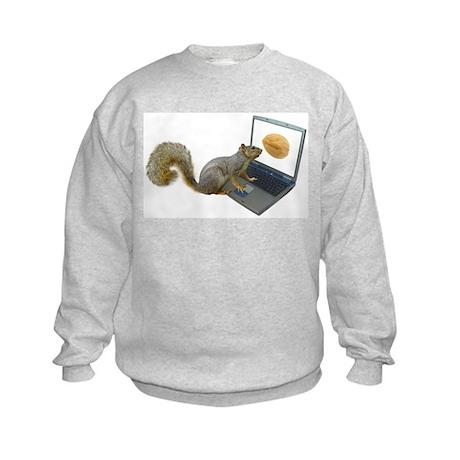 Squirrel at Computer Kids Sweatshirt