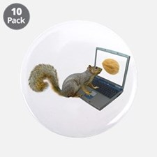 "Squirrel at Computer 3.5"" Button (10 pack)"