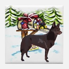 Kelpie Christmas Tile Coaster
