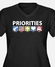 GOP Priorities Women's Plus Size V-Neck Dark T-Shi